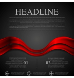 Dark red futuristic waves background vector image