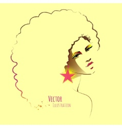 Disco girl with afro hairstyle vector image vector image