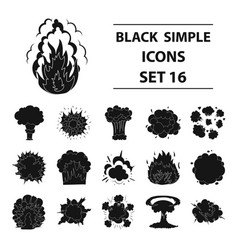 explosions set icons in black style big vector image
