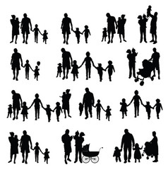 Family with children set silhouette in black vector