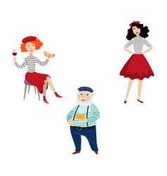 flat french style fashion people set vector image
