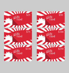 Gift card with gift box and rays red and white vector