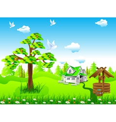 House in field vector