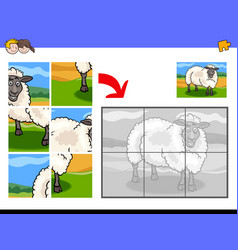 Jigsaw puzzles with sheep animal character vector