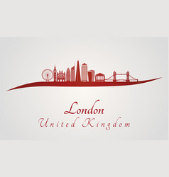 london v2 skyline in red vector image vector image