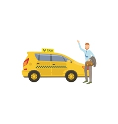 Man Catching A Yellow Taxi Car vector image