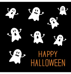 Many spook ghosts Happy Halloween card Flat design vector image vector image