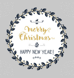 merry christmas and happy new year floral circle vector image vector image