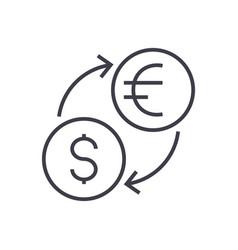 money exchangedollar euro line icon sign vector image