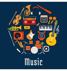 Music round symbol with musical instruments vector image