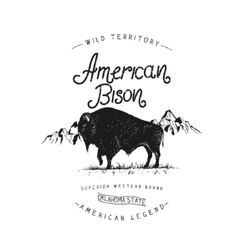 Old label with bison vector