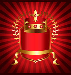 royalty emblem with golden crown and shield vector image