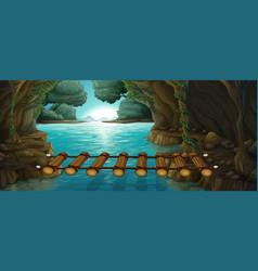 Scene with bridge across river vector