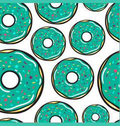 Seamless pattern mint donuts vector