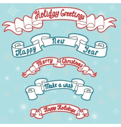 Set of Christmas and new year ribbons vector image