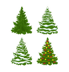 set of christmas trees with snow vector image