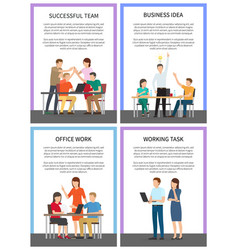 Successful working team business idea banners vector