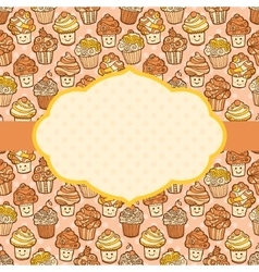 Textured background with cute doodle cupcakes vector image