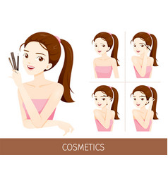 woman with step to apply eyebrow makeup vector image vector image