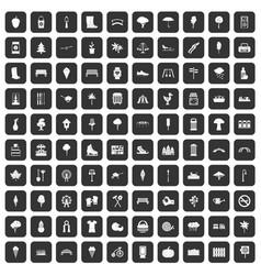 100 park icons set black vector