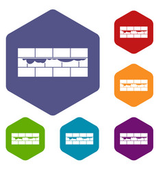 brick wall icons set vector image