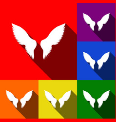 wings sign   set of icons with vector image