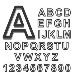 3d alphabet set black font on a white background vector image