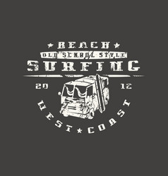 surfing bus emblem graphic design for t-shirt vector image