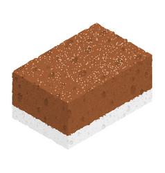 isometric chocolate cake isolated on white vector image