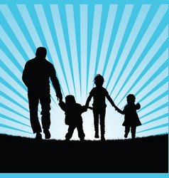 Family with children walking in beauty nature vector