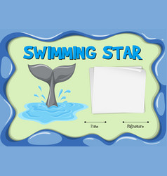 Swimming star certificate with dolphin tail vector