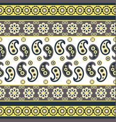 Paisley flower pattern seamless row vector