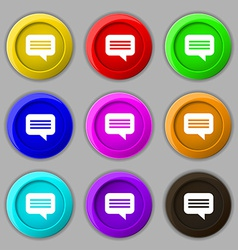Speech bubble chat think icon sign symbol on nine vector