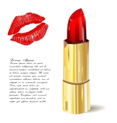 Lipstick isolated with lips trace on white vector