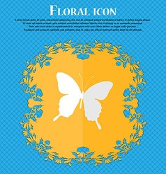 Butterfly floral flat design on a blue abstract vector