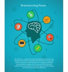 Creative brain idea and brainstorming poster vector