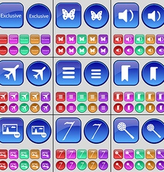 Exclusive butterfly sound airplane apps marker vector