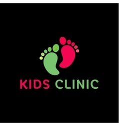 Logo childrens health clinic the childs feet flat vector