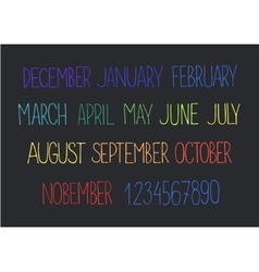 Month names and numbers vector