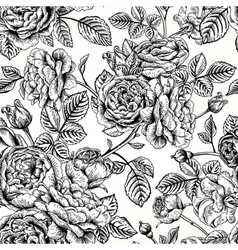 Seamless vintage pattern with english roses black vector