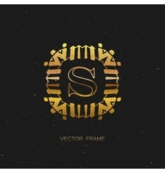 Art-deco golden frame vector