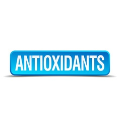 Antioxidants blue 3d realistic square isolated vector