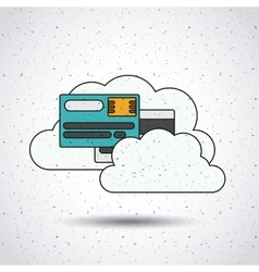 Credit card with clouds isolated icon design vector
