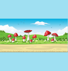 a landscape with mushrooms vector image vector image