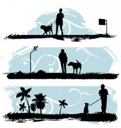 A man walking his dog vector