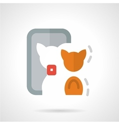 Abstract flat color icon for cat selfie vector