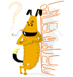 Angry dog with smoking animal vector