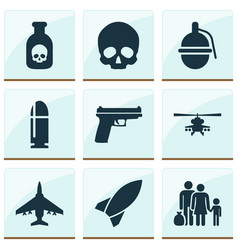 army icons set collection of cranium fugitive vector image vector image