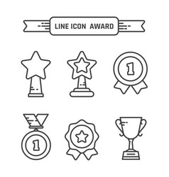 award linear icons set vector image