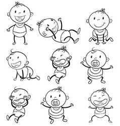 Babies with different moods vector image